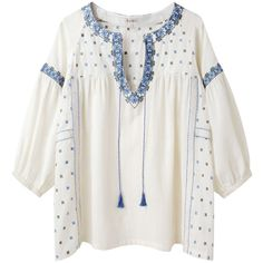 Suno Embroidered Peasant Top ($175) ❤ liked on Polyvore featuring tops, blouses, shirts, t-shirts, boxy shirt, cotton blouse, embroidered cotton blouse, embroidered peasant blouse and peasant blouse