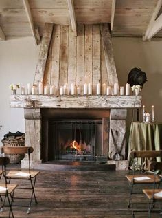 Beautiful fireplace with the rustic wood surround!