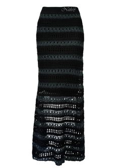 "Юбка крючком ""Истрия"". Перуанская коллекция.  Istria Skirt.This stunning maxi skirt is handcrocheted in alternating bands of slate scallops and black windowpane lace. #Peruvian_Connection    #crochet_skirt"
