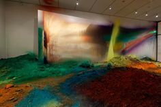 Wunderblock | colorful acrylic paint on soil, walls, ceiling, and canvas