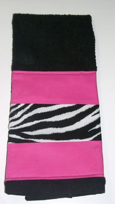 Hand Towel Hot Pink and Zebra on Black by DREAMATHEME on Etsy