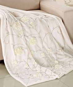 White Ivory Ribbon Embroidered Faux Fur Throws #HST #HomeSoftThings #Throw #Blanket #FauxFur