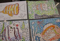 Watercolor Fish with Pointillism   TeachKidsArt