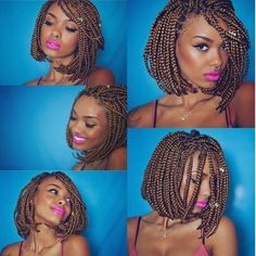 53 Box Braids Hairstyles That Rock - Hairstyles Trends Bob Box Braids, Braids Bob Style, Pixie Braids, Twist Box Braids, Short Box Braids, Braid Styles, Twists, Short Hair, Hair Afro