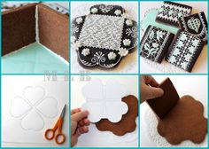 Anyways..to make a cookie box like this you need: 1) Make a drawing of the framework on the paper, then measure the size of every side. 2) Cut out the shapes on the dough (2 big ones and 4 small). 3) Bake the cookies and let them cool down. 4) Decorate the baked parts. 5) Using a royal icing glue all the parts and disguise the seams. That's it - the box is ready.