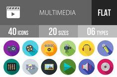 40 Multimedia Flat Shadowed Icons by IconBunny on @creativemarket