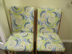 reclaimed old kitchen chairs for the new office!  just a bit of fabric and...voila'