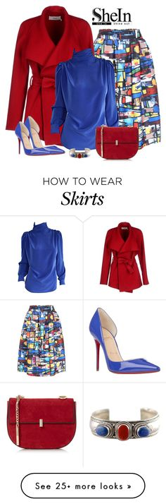 """SheIn Multi Colored skirt"" by lorrainekeenan on Polyvore featuring BGN, St. John and Christian Louboutin"