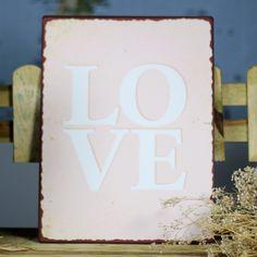 Cartel Love en placa de metal 14,50 € | Una Boda Original http://www.unabodaoriginal.es/es/placa-de-metal-love.html