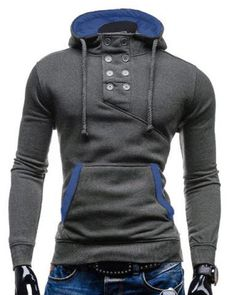 Slimming Hooded Stylish Double Breasted Pocket Hemming Long Sleeve Cotton  Blend Men s Hoodie - Deep Gray L Cotton Full. Curtis Smith · clothing 9861d8d20fc