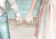 #art #original #watercolor #painting #circle1 #Etsy http://etsy.me/1310B99 couple on the beach
