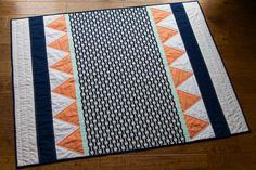 Modern Baby Quilt Navy Mint Coral Gold Dot Gender by RBmakes