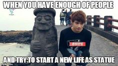 Jun trying to socialize with the marmor man | WHEN YOU HAVE ENOUGH OF PEOPLE AND TRY TO START A NEW LIFE AS STATUE | image tagged in seventeen,jun,junhui | made w/ Imgflip meme maker