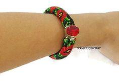 SUMMER SALES poppy-patterned crocheted bead bracelet - Bead crochet bracelet - Patchwork - Beadwork - red flower bracelet by SERMINCEJEWELRY on Etsy