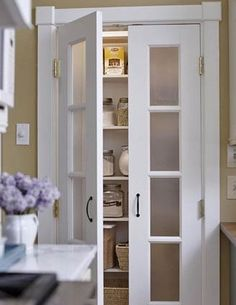 Kitchen pantry. Split,our door so,it doesn't take up so much space