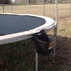 Shoe holder; have dogs that like to run off with your kids shoes while on the trampoline? Use a Hook Over bucket to keep shoes off the ground and off the trampoline.