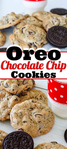 These Oreo Chocolate Chip Cookies combining two long time favorites - Oreos and Chocolate Chip Cookies are delicious alone, but even better dunked in milk!