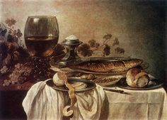 """Breakfast Piece""  --  1646  --  Pieter Claesz  --  Dutch  --  Oil on wood  --  Pushkin Museum  --  Moscow, Russia"