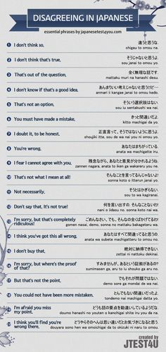 Infographic: how to disagree with someone in Japanese. http://japanesetest4you.com/infographic-disagree-someone-japanese/