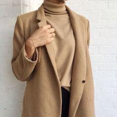 camel coat with camel turtleneck