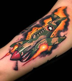 new school tattoo fighter plane
