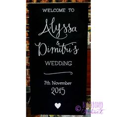"A simplistic, elegant welcome sign for Alyssa and Dimitri's wedding at Jaspers.  ""I received our wedding signs yesterday and they are absolutely perfect. I love them! Thank you so much for all your help, you were a pleasure to deal with, nothing was too much trouble."" - Alyssa Wedding sign, wedding blackboard, wedding chalkboard"