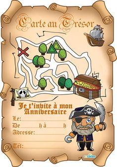 invitation anniversaire carte au trésor sur parchemin