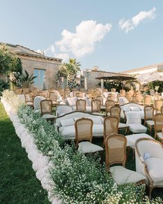 Aisle lined with small white flowers Wedding Ceremony, Our Wedding, Wedding Venues, Dream Wedding, Ceremony Seating, Paris Wedding, Wedding Goals, Wedding Gallery, Wedding Wishes