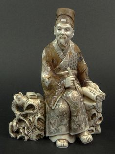 Japanese Carved Ivory Seated Scholar Figure. Signed to Base. Good Condition or…