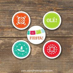 Cupcake Toppers Fiesta DIY Printable by PaperFoxDesign on Etsy