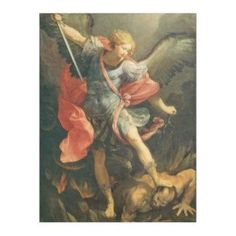 'The Archangel Michael Defeating Satan' by Panoramic Images - Wrapped Canvas Painting Print Astoria Grand Size: H x W x D Michelangelo Paintings, Rembrandt Paintings, Renoir Paintings, Art Paintings, Painting Frames, Painting Prints, Canvas Artwork, Canvas Prints, David Painting
