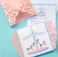Elegant carousel themed birthday invitations. Perfect for a little girls birthday or baby shower.