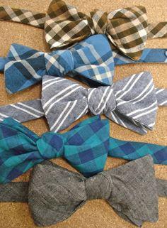 MEN'S BOW TIES - Blue Plaid Free-Form & Adjustable Neckstrap. $25.00, via Etsy.
