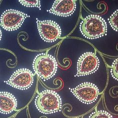 New, Cotton Quilting Fabric BY the YARD, Black Leaf & Paisley by Blank Quilting