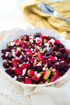Elegant and simple Thanksgiving side dish - Roasted Beets and Apple Salad with maple dijon vinaigrette, topped with feta and walnuts. I made this last night and it was so delicious! (gluten free and easily vegan & paleo)