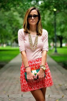 Sring street style - Adorable Short stripes top and red and pink mini skirt