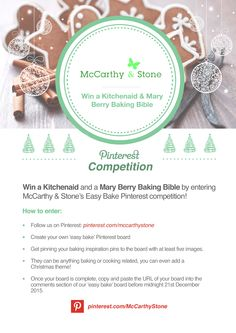 Our Christmas Competition is here! Take part for an opportunity to win a Kitchenaid and a Mary Berry Baking Bible. Please make sure you read the terms and conditions here: http://www.mccarthyandstone.co.uk/pinterestcomp