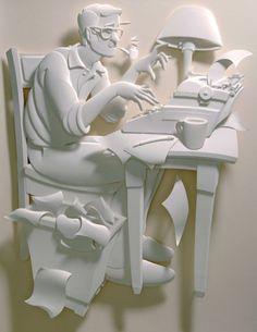Un écrivain sculpté en papier