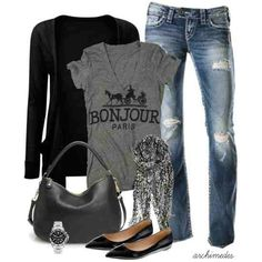 Comfy casual. love simple jeans and a v neck
