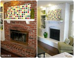 Modern Style Red Brick Fireplace Makeover Ideas Pinted White Design