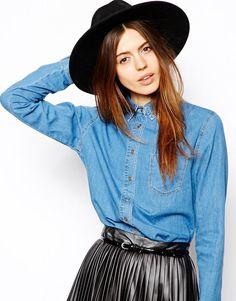 $47, Blue Denim Shirt: Asos Denim Shirt In Retro Mid Wash Retro Blue. Sold by Asos. Click for more info: https://lookastic.com/women/shop_items/35997/redirect