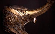 detail shots of Loki's helmet: cosplay reference