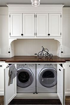 Hidden Washer And Dryer For Dream Kitchen Laundry Room