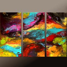 ABSTRACT Canvas Art Painting Huge 3pc 54x36 Original Modern Contemporary Fine Art Painting by Destiny Womack - dWo - Cosmic Dreams II