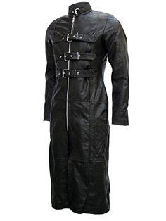 Men's Outstanding Full Length Black Goth Leather Coat – Paul