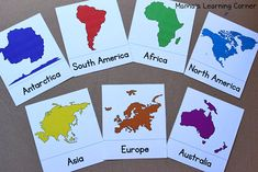 Continent Cards: Free Printables to learn the continents. Use the book Amy's Travels to teach the geography and location of all 7 continents Continents Activities, Geography Activities, Geography For Kids, Ocean Activities, Geography Lessons, Maps For Kids, Teaching Geography, Social Studies Activities, World Geography