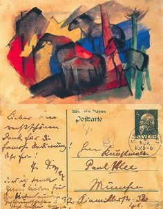Postcards by Franz Marc, 1913. Three Horses in Landscape with Houses, to Paul Klee in Munich, 8 November 1913.