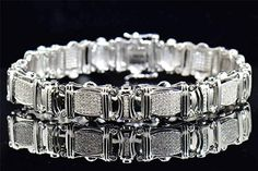 2.10 Ct Genuine Diamond Bracelet Pave Set Designer Mens 10K White Gold 8.25 Inches
