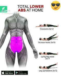 TOTAL LOWER ABS AT HOME - After removing lower belly fat the next goal is to target those six-pack abs. Here's an effective - Full Body Gym Workout, Gym Workout Videos, Gym Workout For Beginners, Fitness Workout For Women, Abs Workout Routines, Fitness Workouts, Body Fitness, At Home Workouts, Fitness Goals