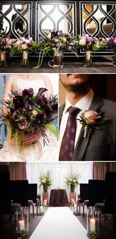 Dramatic dark purple wedding floral arrangements using local Pacific Northwest blooms by Flora Nova Design, Photos by The Popes